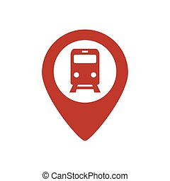 Subway or railway station map pointer icon on white background.