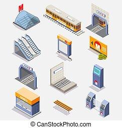Subway or underground vector isometric icon set