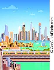 Subway Over City Skyscraper View Cityscape Background Skyline