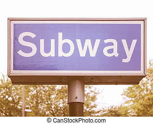 Subway sign vintage