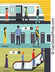 Subway station banner concept set, flat style