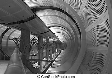 Subway Station - Black and White of a subway station in Los...