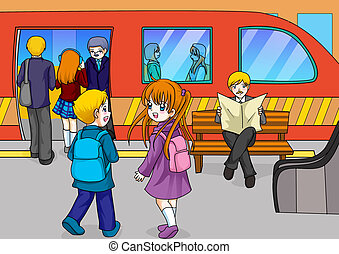 Subway Station - Cartoon illustration of two kids at the ...