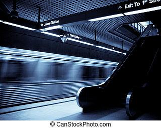 Train departing from Los Angeles metro selenium tones