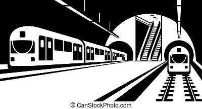 Subway station with trains