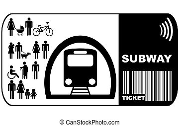 Subway ticket isolated on white background ticket