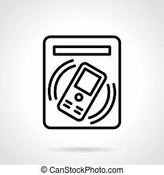 Subway ticket terminal simple line vector icon - Symbol of...