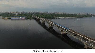 Subway train bridge aerial view