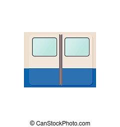 Subway train doors icon, cartoon style