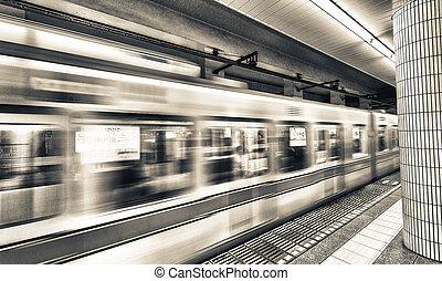 subway., train, en mouvement, jeûne, tokyo