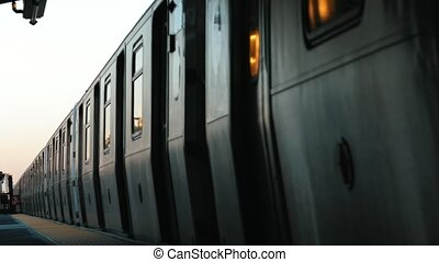 Subway train entering station in new york city - brooklyn
