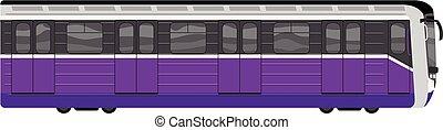 Subway train icon, cartoon style