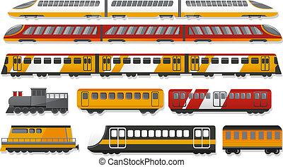 Subway train icon set, cartoon style