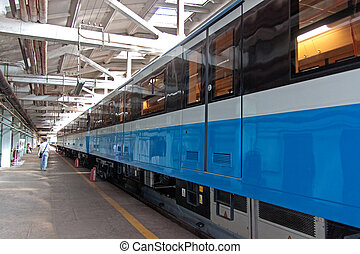 Subway train in depot
