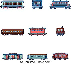 Subway train metro icons set, cartoon style