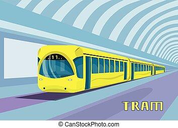 Subway Tram Modern City Public Transport Underground Rail Road