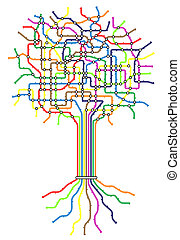 Subway tree - Editable vector subway map in shape of a tree...