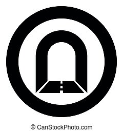 Subway tunnel with road for car icon black color illustration in circle round