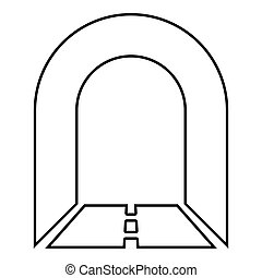 Subway tunnel with road for car icon black color illustration outline