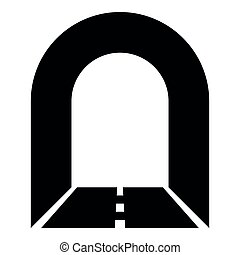 Subway tunnel with road for car icon black color illustration
