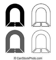 Subway tunnel with road for car icon set grey black color illustration outline flat style simple image