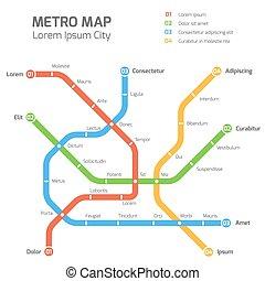Subway vector map template. City metro transportation scheme
