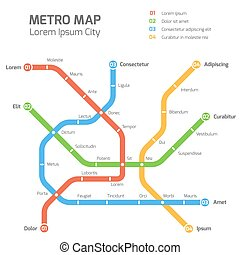 Subway vector map template. City metro transportation scheme