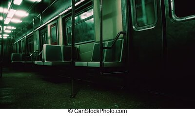 Subway wagon is empty because of the coronavirus outbreak in the city