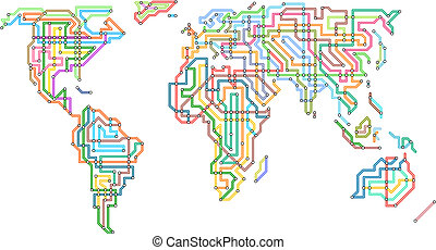 Subway world - Editable vector illustration of the world in...