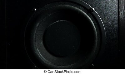 Subwoofer bass loud speaker in action. Super slow motion low...