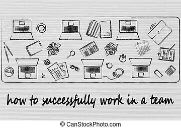 succès, business, team:, travail, portables, comment, objets, bureau, partagé