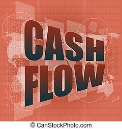 succès financier, business, écran, couler, espèces, mots, numérique, projection