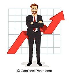 succès financier, business, réussi, graphique, bras haut, folded., croissant, barre, homme