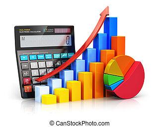 succès financier, et, comptabilité, concept
