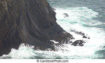 succès, océan, temps, vagues, extrême, falaise