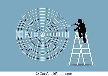 succès, puzzle., solution, découvertes, manière, labyrinthe, homme, rond, dehors