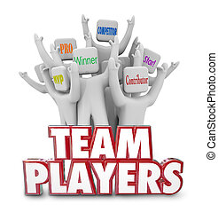 succe, gens fonctionnement, ouvriers, ensemble, joueurs, vainqueurs, équipe, personnel