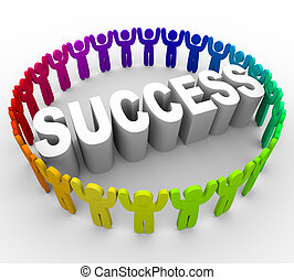 Many people of different colors surround the word Success