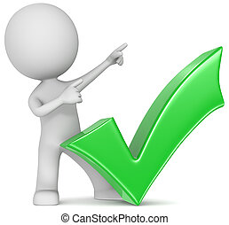 Succeed. - The Dude with green check mark. Pointing upward.