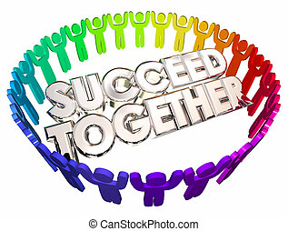 Succeed Together People Working Cooperation 3d Illustration