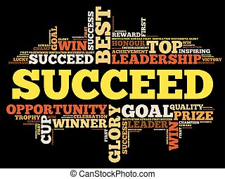 Succeed word cloud collage