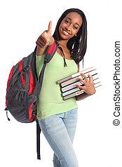 succes, amerikaan, tiener, afrikaan, meisje, opleiding
