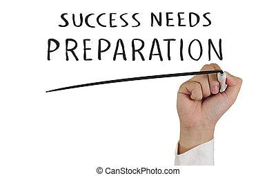 succes, behoeftes, voorbereiding