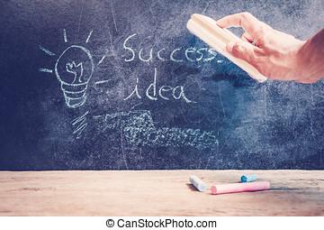 succes, concept, hand, getrokken, op, bord