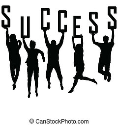 succes, concept, met, jonge, team, silhouettes
