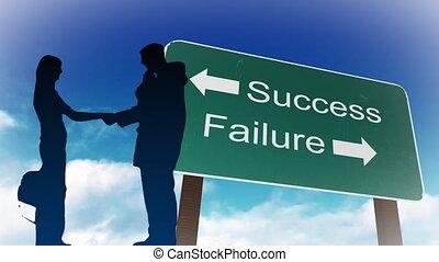 succes, en, mislukking, meldingsbord