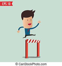 succes, eps10, empresa / negocio, encima, -, saltar, vector, ilustración, manera, obstáculo, hombre