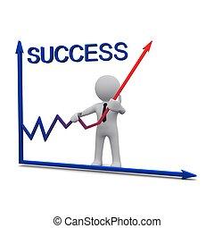 succes, grafiek, richtingwijzer, 3d, rood, man