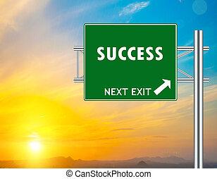 succes, groene, wegaanduiding