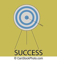 Succes icon flat design. Target and arrow, bulls eye, goal...